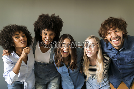 group portrait of cheerful friends