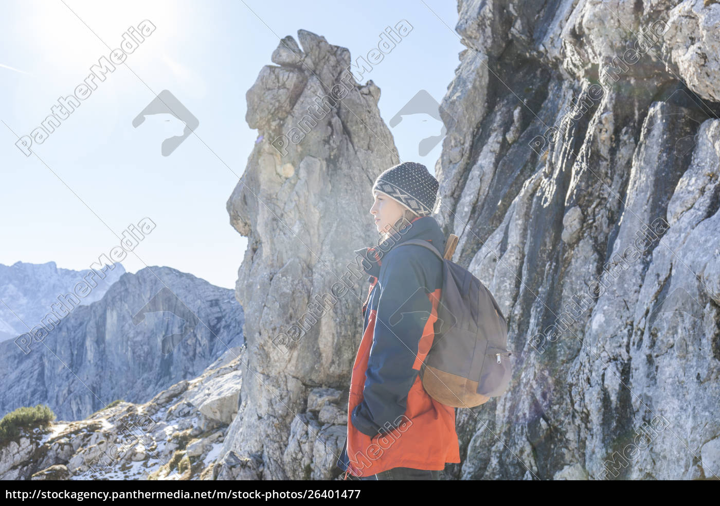 germany, , garmisch-partenkirchen, , alpspitze, , osterfelderkopf, , female, hiker - 26401477