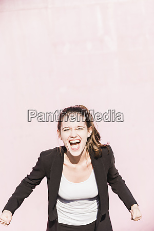 portrait of screaming young woman in