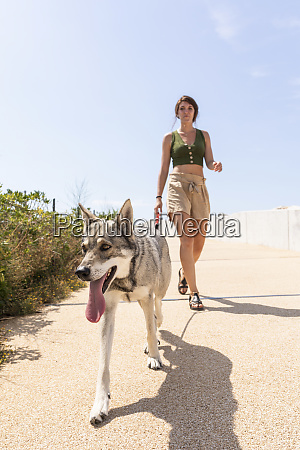 young woman going walkies with her