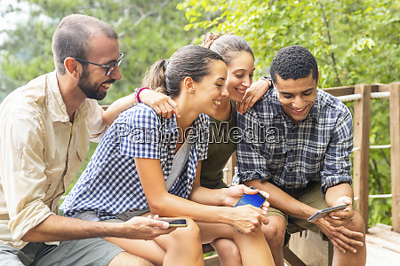 italy massa smiling hikers in the