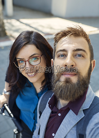 selfie of happy business couple with