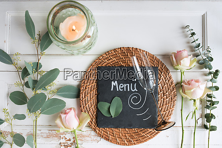 mothers day place setting on white