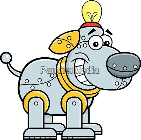 cartoon illustration of a mechanical dog
