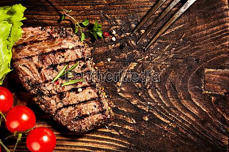 seasoned grilled tender beef steak on