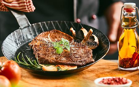 seasoned portion of grilled beef steak