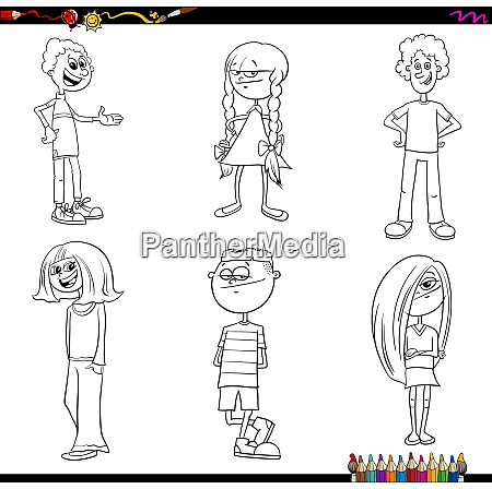 children or teenager characters set color