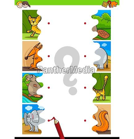 match jigsaw puzzles of cartoon wild