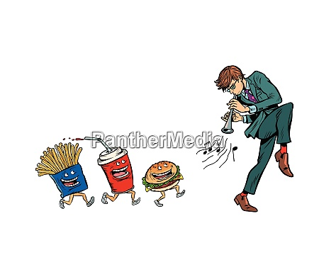 fast food goes for man playing