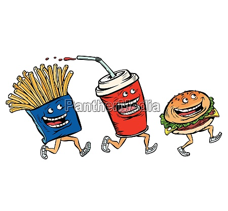 characters set fast food french fries