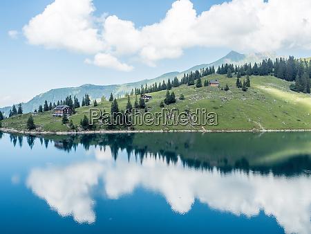 bannalpsee swiss alps mountain and lake
