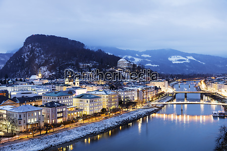 salzach river and old town at