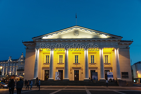 floodlit neo classical town hall old