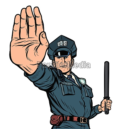police officer stop gesture isolate on
