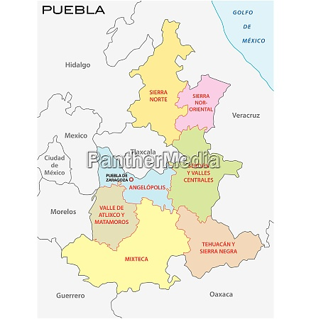 puebla administrative and political vector map