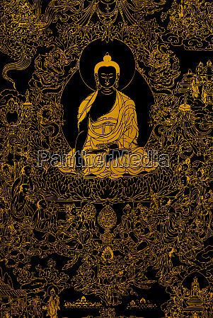 goldene buddha meditation zen schwarz hintergrund