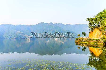 photograph of autumn colourful lake mountain