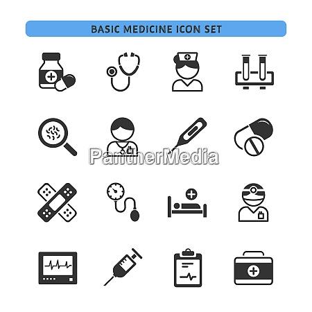 basic medicine icons set