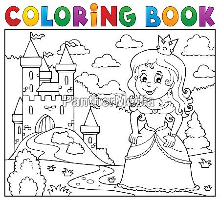 coloring book princess topic image 1