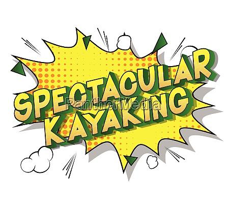 spectacular kayaking comic book style