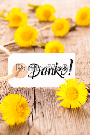 label dandelion calligraphy danke means thank