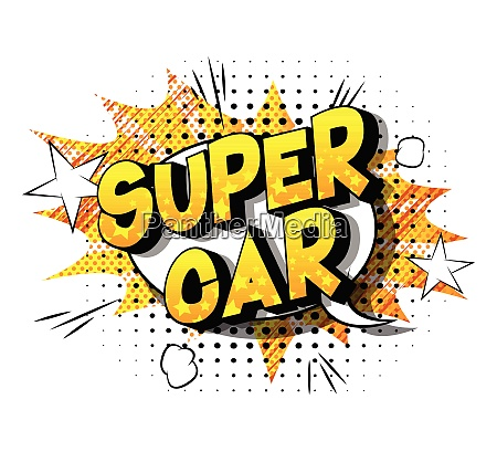 super car comic book style