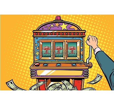 kriegsspiele aggressives politik konzept einarmige banditenspielautomat