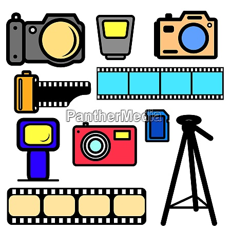 vector set of cameras and accessories