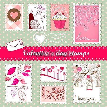 satz von valentinstag briefmarken