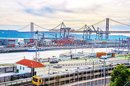 lisbon commercial port city bridge