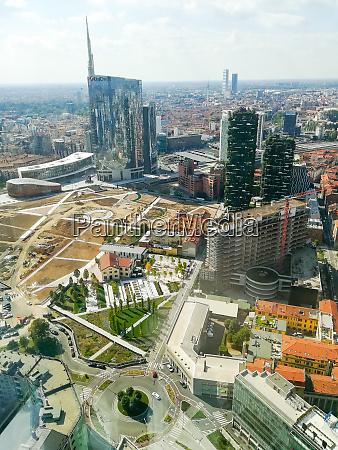 milan aerial view milano city italy
