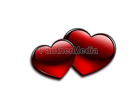 glaenzendes rotes herz und valentinstag