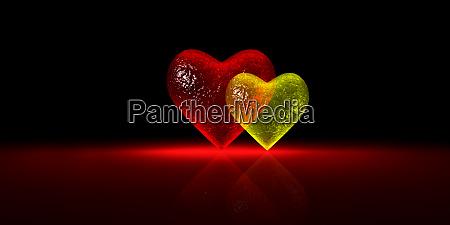 glossy glass heart chart