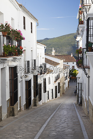 narrow street in andalucian white village