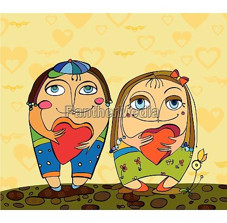 Vektordatei, Liebe, Paar, Glücklich, Herz