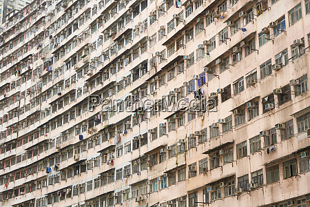 densely crowded apartment buildings hong kong