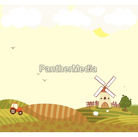 rural landscape with a tractor in