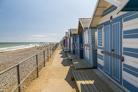view of colourful beach huts on