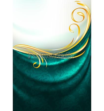 dunkle smaragd stoff vorhang mit ornament