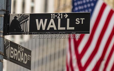 usa american flag wall street and