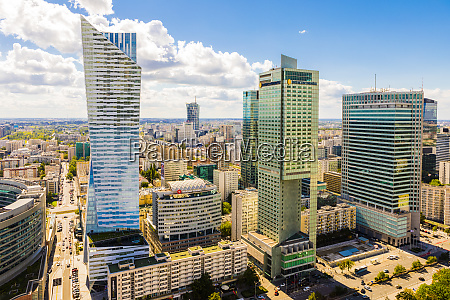 skyscrapers city centre warsaw poland europe