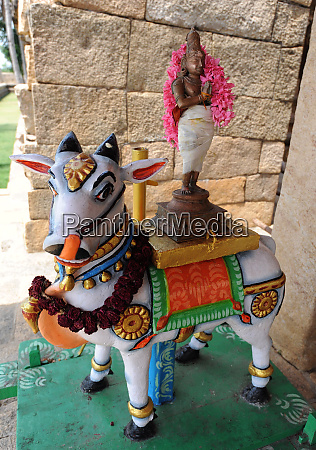 nandi bull dressed with deity for