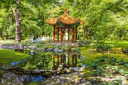 japanese garden lazienki park warsaw poland