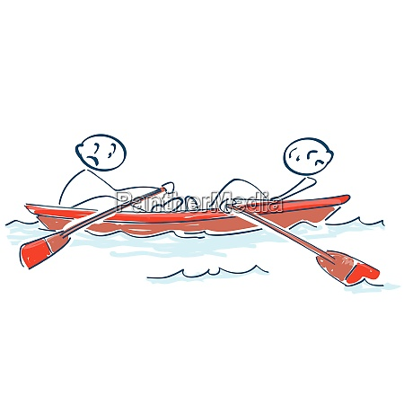 stick figures rowing against each other