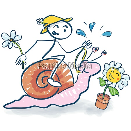 stick figure rides on a snail
