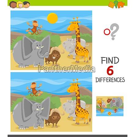 find differences game with cartoon animals