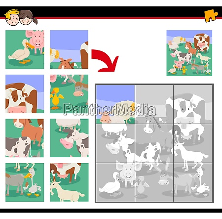 jigsaw puzzle game with cartoon farm