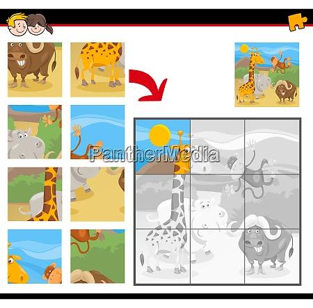 jigsaw puzzles with cartoon wild animals