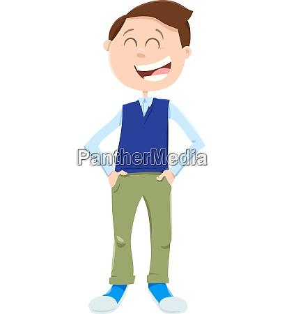 happy kid or teenager boy cartoon