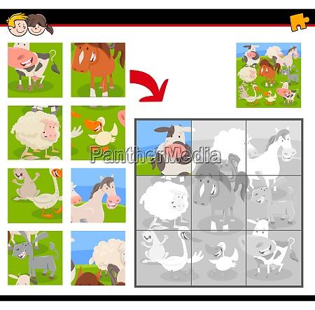 puzzles, mit, cartoon-nutztieren - 26511617